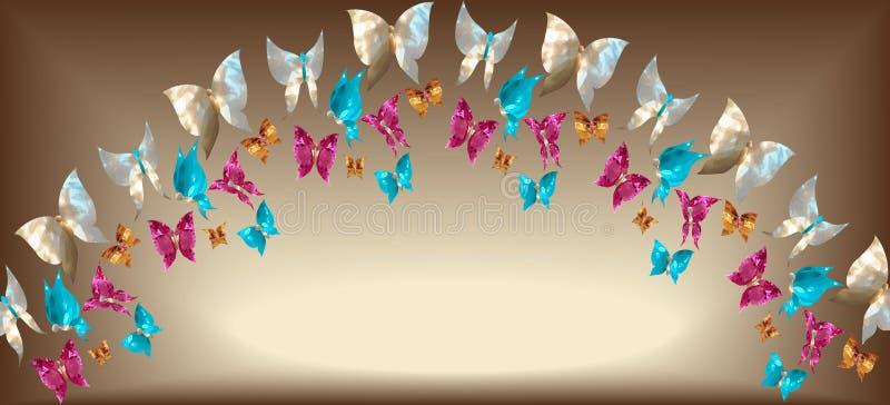 Arco de borboletas da joia sob a forma das gemas, madrepérola foto de stock