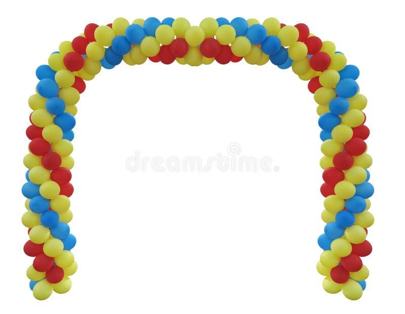 Arco de eventos de balões vermelhos, verdes, azuis, amarelos isolados sobre fundo branco imagens de stock royalty free