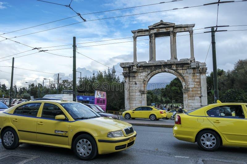 Arco de Hadrian em Atenas, Grécia imagem de stock
