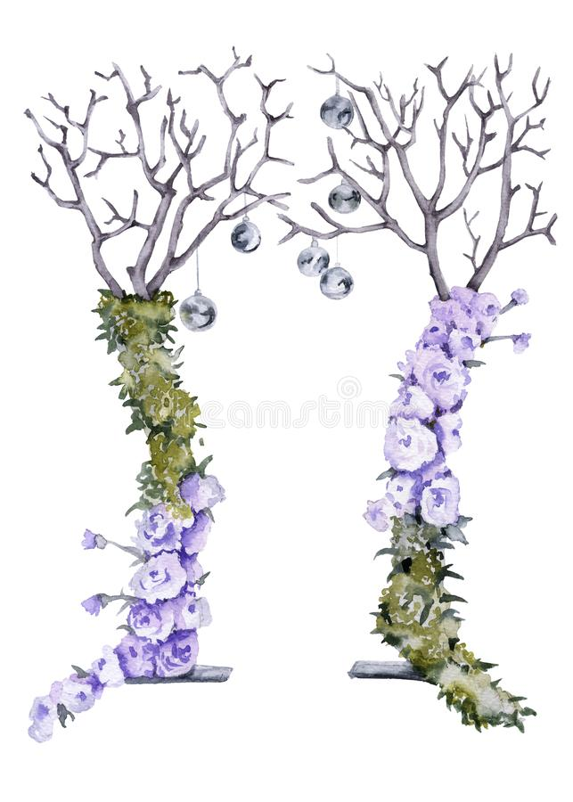 Arco de la boda Aislado en el fondo blanco libre illustration