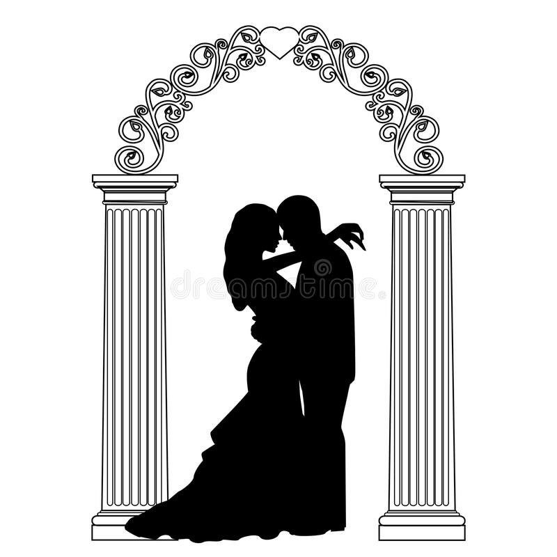Arco de la boda con la novia y el novio libre illustration