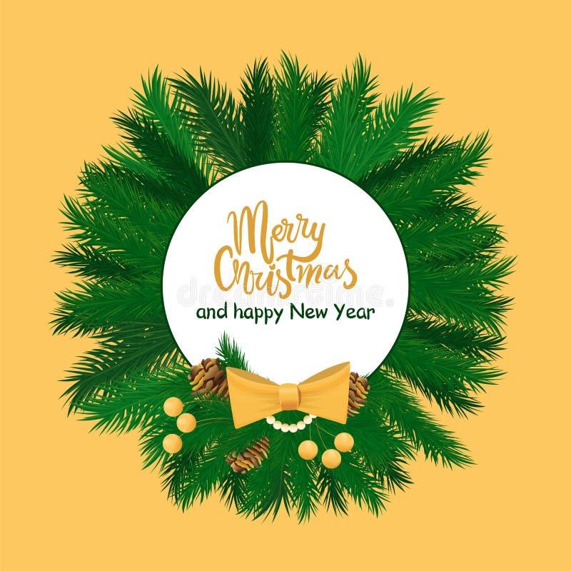 Arco de la Feliz Año Nuevo de la Feliz Navidad, cono, baya ilustración del vector