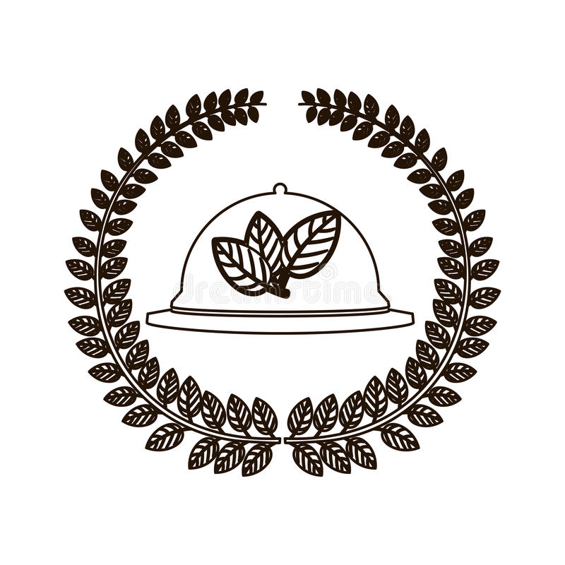 Arco de la silueta de hojas con la cubierta del vajilla libre illustration