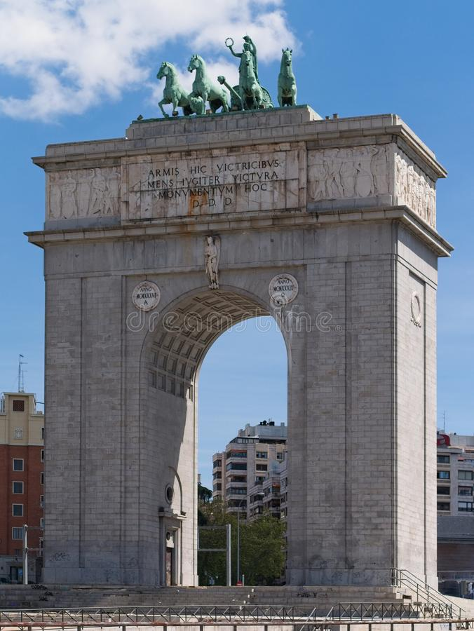 Arco de la Victoria Victory Arch is a triumphal arch built in the Moncloa, Madrid, Spain. royalty free stock photography
