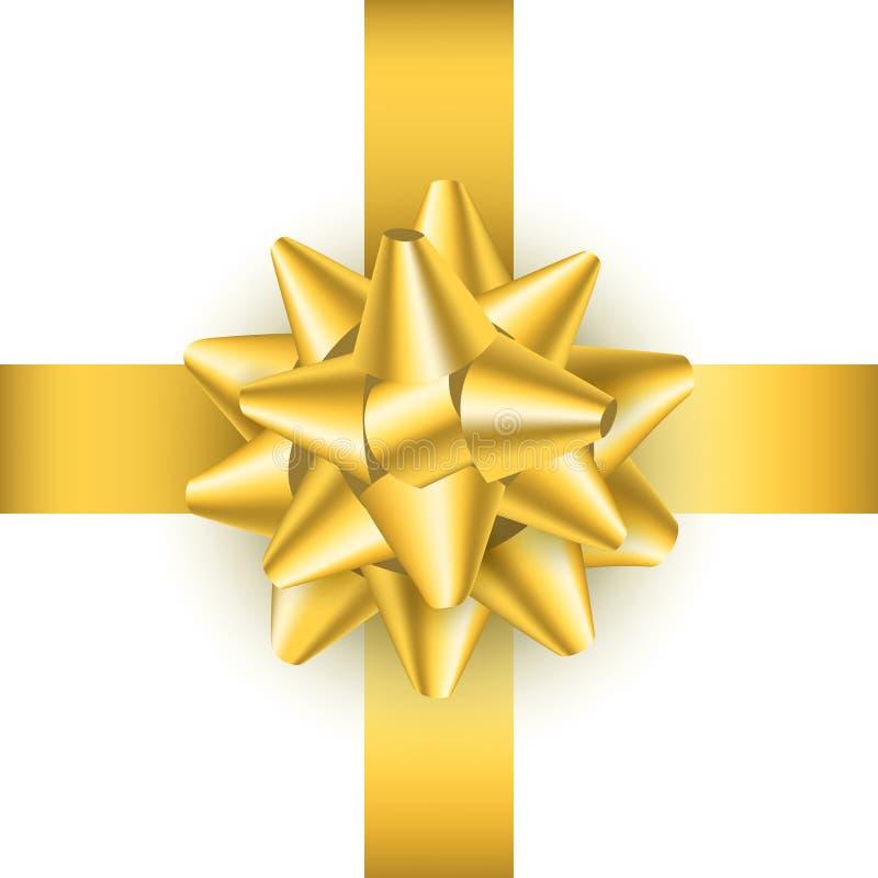Arco de oro detallado realista del regalo 3d Vector libre illustration