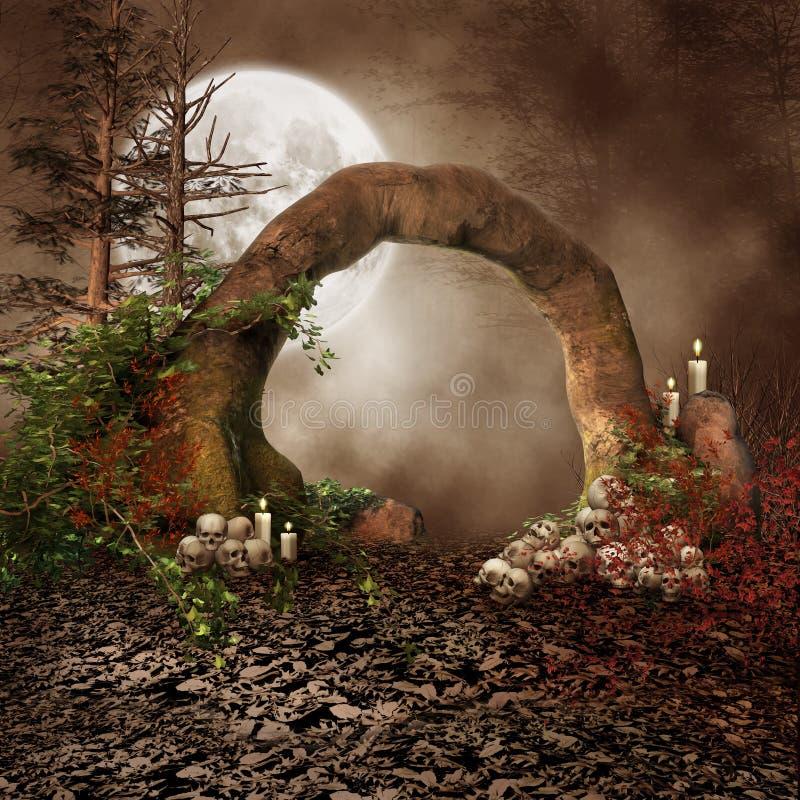 Arco de piedra con los cráneos libre illustration