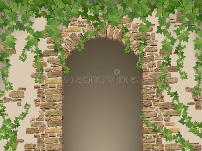 Arco de piedras y de la hiedra de la ejecución ilustración del vector