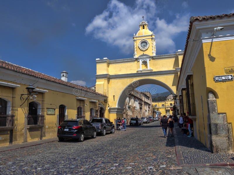Arco De Santa Catalina, Luty 1 2019 Antigua, Guataemala zdjęcie royalty free