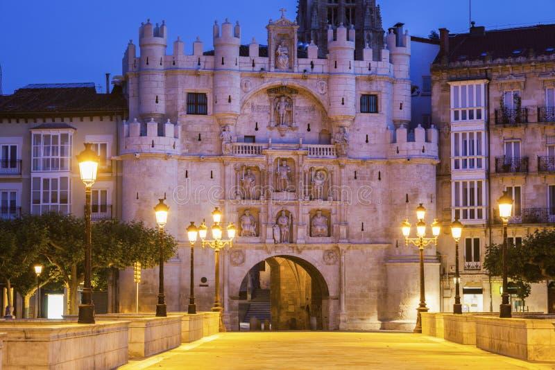 Arco de Santa Maria en Burgos imagen de archivo