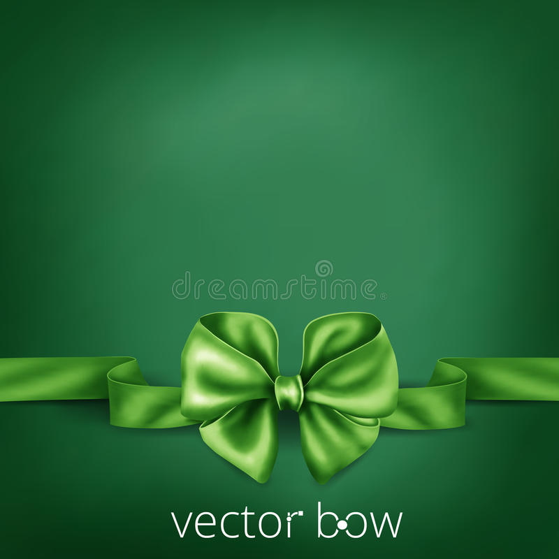 Arco de seda realista verde de la cinta stock de ilustración