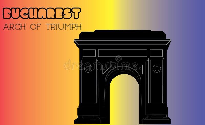 Arco de Triumph, Bucareste, silhueta, vetor ilustração do vetor
