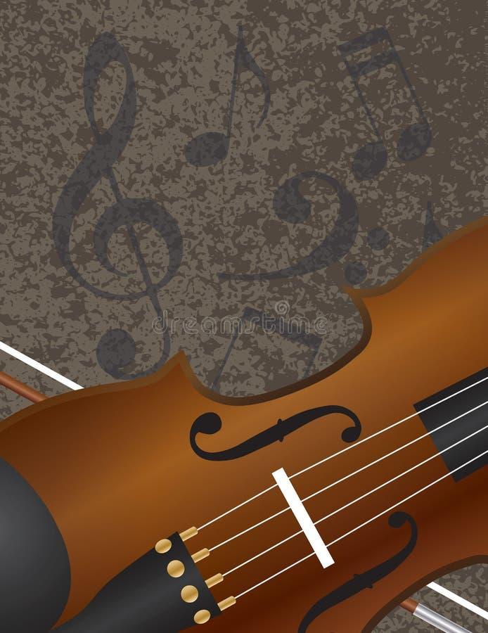 Arco de violín con el fondo Illuustration de las notas musicales stock de ilustración