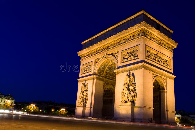 Arco del triunfo. Noche fotos de archivo libres de regalías