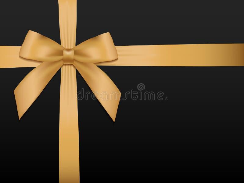 Arco dell'oro con i nastri Nastro brillante del raso dell'oro di festa sul nero illustrazione vettoriale