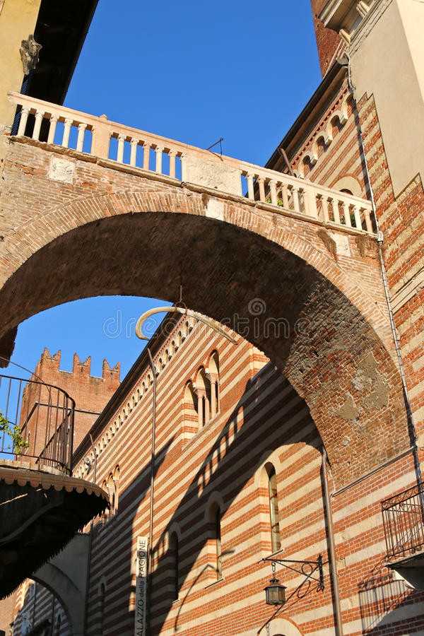 Arco della Costa with a hanging whale's rib in Italy royalty free stock photos