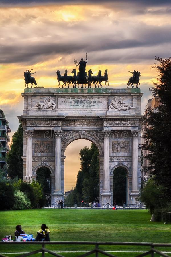 Arco della Pace and gardens of Parco Sempione, Milan. Italy royalty free stock photography