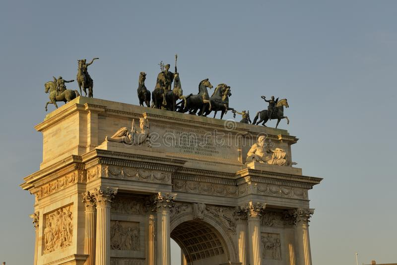 Arch of Peace in Milan Italy royalty free stock image