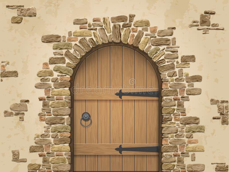 Arco della pietra con la porta di legno chiusa illustrazione vettoriale