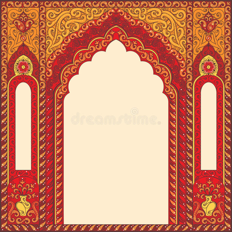 Arco della ricerca nello stile orientale con gli ornamenti tradizionali arabi royalty illustrazione gratis
