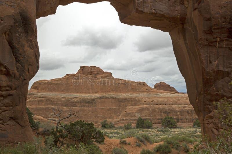 Arco della tappezzeria, arché parco nazionale, Moab Utah fotografia stock libera da diritti