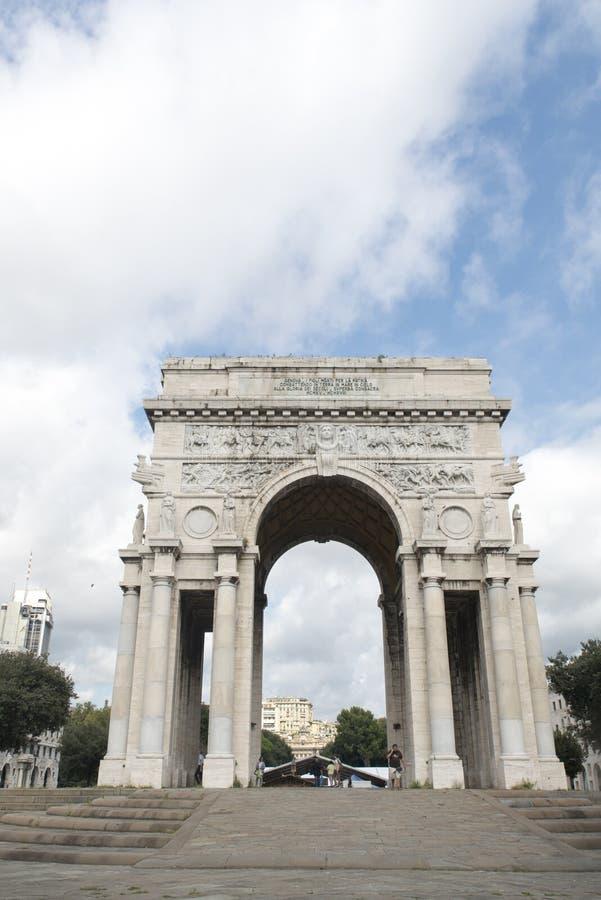Arco della Vittoria Genoa stock photos