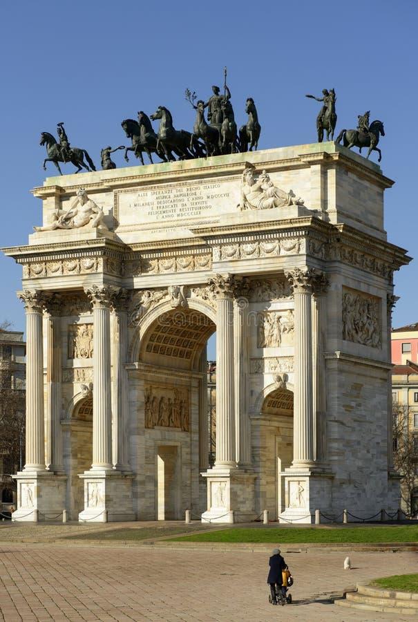 Arco dellatempo van zuiden, Milaan stock afbeelding