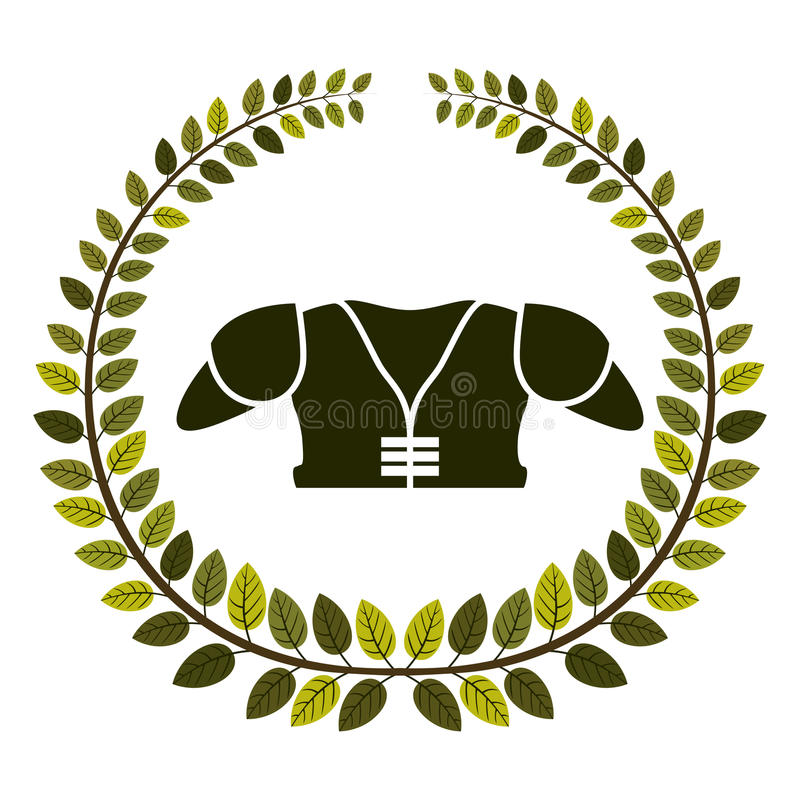 arco delle foglie con protezione del petto di football americano royalty illustrazione gratis