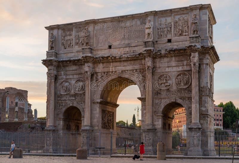 Arco di Costantino evening view. Rome, Italy - June 22, 2019: Arco di Costantino evening view stock photography