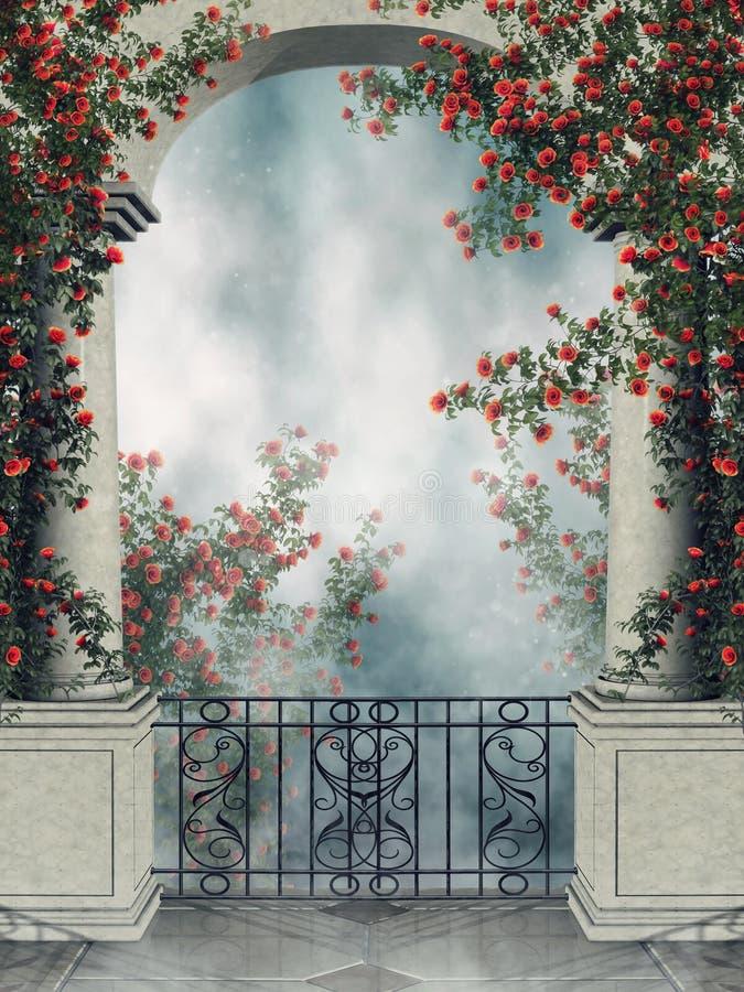 Arco di fantasia con le viti rosa royalty illustrazione gratis