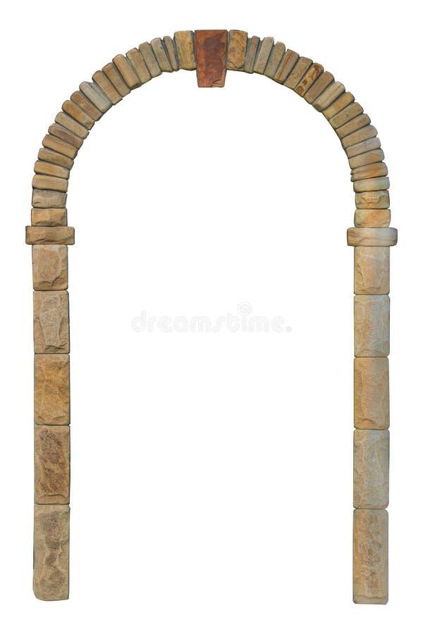 Arco di pietra isolato su fondo bianco fotografia stock