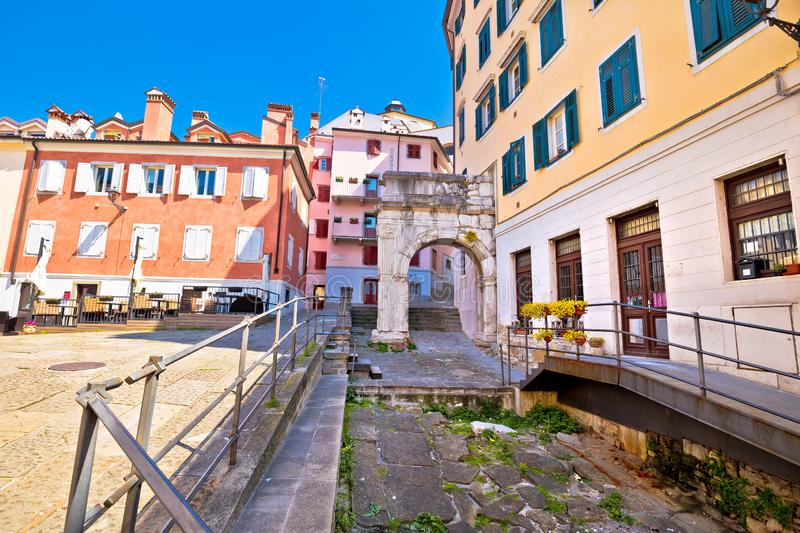 Arco di Riccardo colorful square in Trieste street view royalty free stock photo