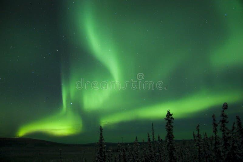 Arco di scissione attivo di Borealis dell'aurora fotografia stock libera da diritti