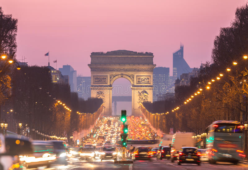 Arco di Triomphe Champs-Elysees Parigi Francia immagine stock libera da diritti