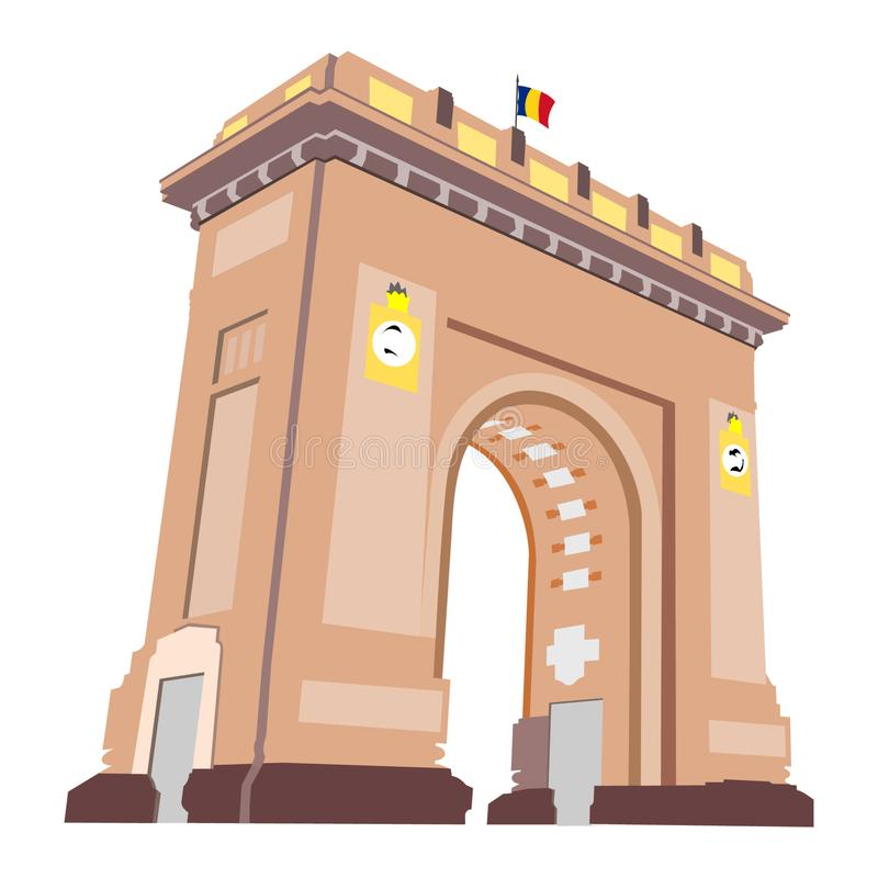 Arco di Triumph a Bucarest, Romania, come visto alla notte con le luci sopra, isolato su fondo bianco Bandiera rumena minuscola s illustrazione vettoriale