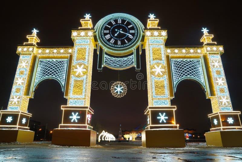 Arco do ano novo, Rússia, Moscou - 5 de janeiro de 2019 imagem de stock