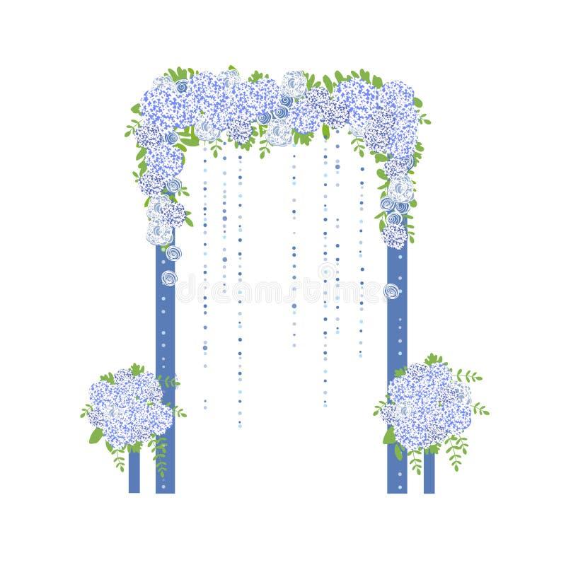 Arco do casamento com flores azuis ilustração do vetor