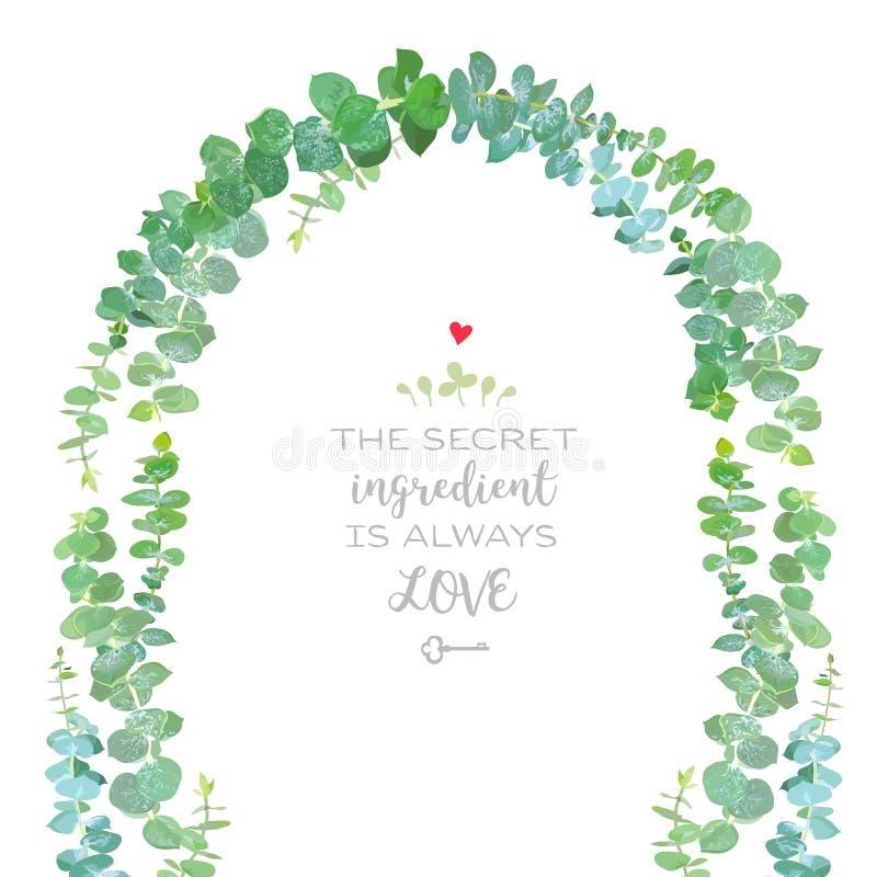 Arco do casamento do fram do projeto do vetor dos ramos do eucalipto dos azuis bebê ilustração do vetor