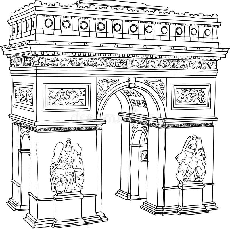 Arco do triunfo de Paris ilustração do vetor