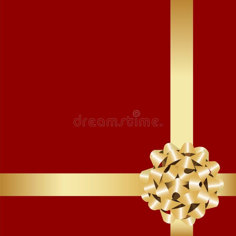 Arco dorato del regalo con il nastro. royalty illustrazione gratis