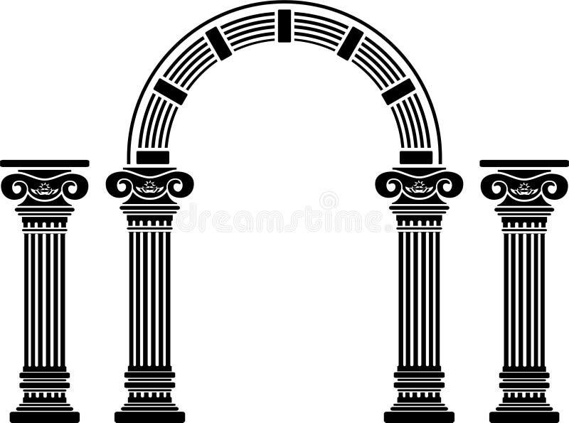 Arco e colunas da fantasia ilustração stock