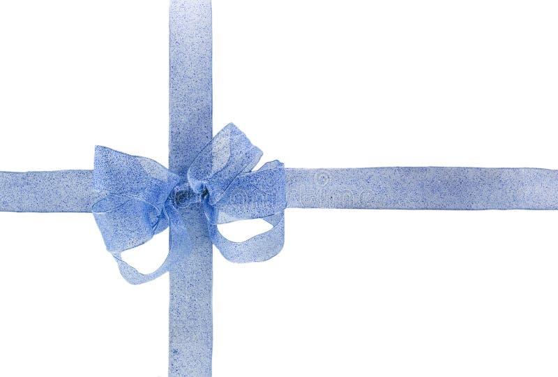 Arco e nastro blu Handmade immagini stock