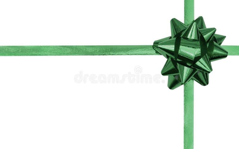 Arco e nastro verdi con la copia fotografia stock