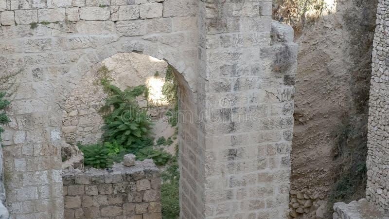 Arco e rovine allo stagno di bethesda nella vecchia città di Gerusalemme fotografia stock