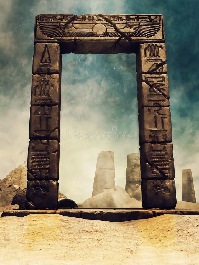 Arco egipcio antiguo con los jeroglíficos stock de ilustración