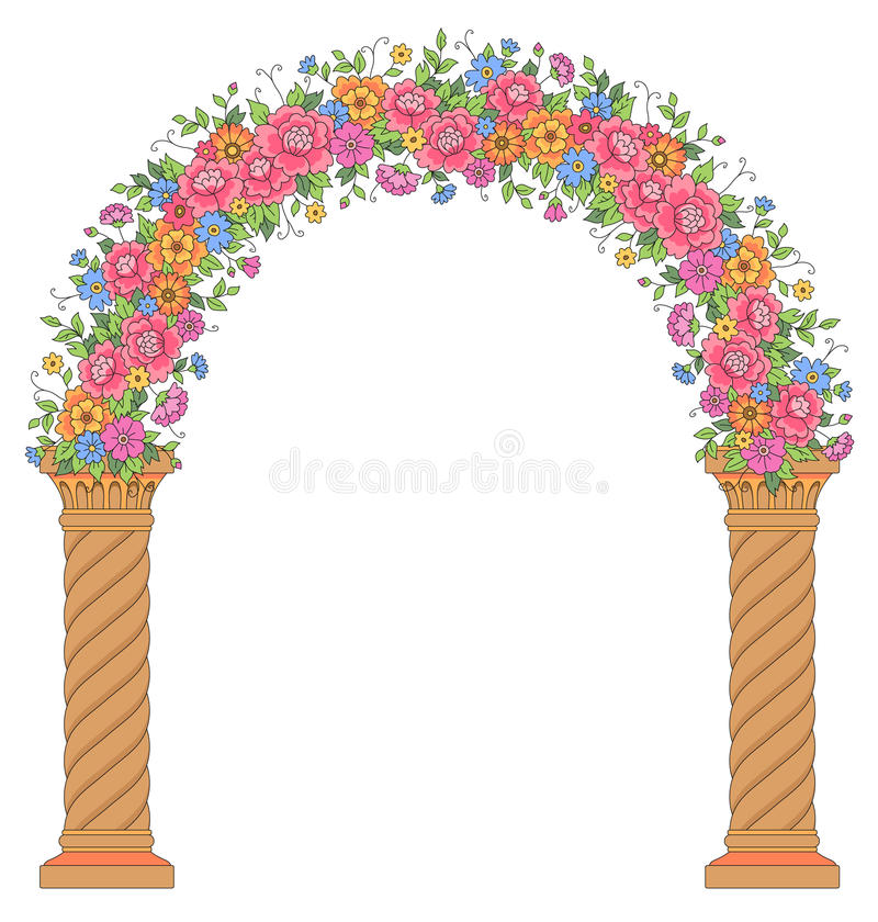 Arco floreale rotondo illustrazione di stock