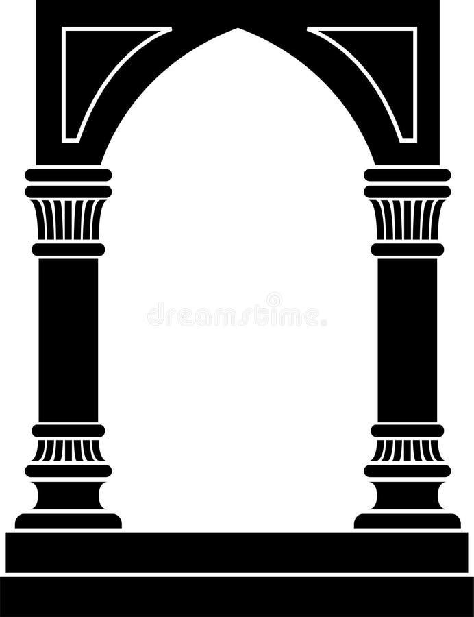 Arco gótico y frontera de columnas ilustración del vector