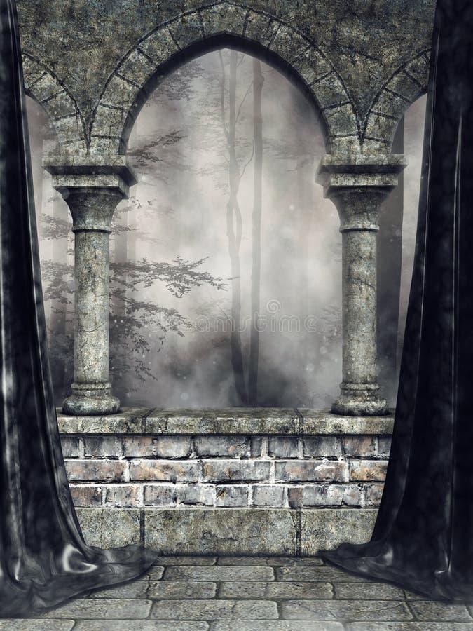 Arco gotico con le tende nere illustrazione di stock