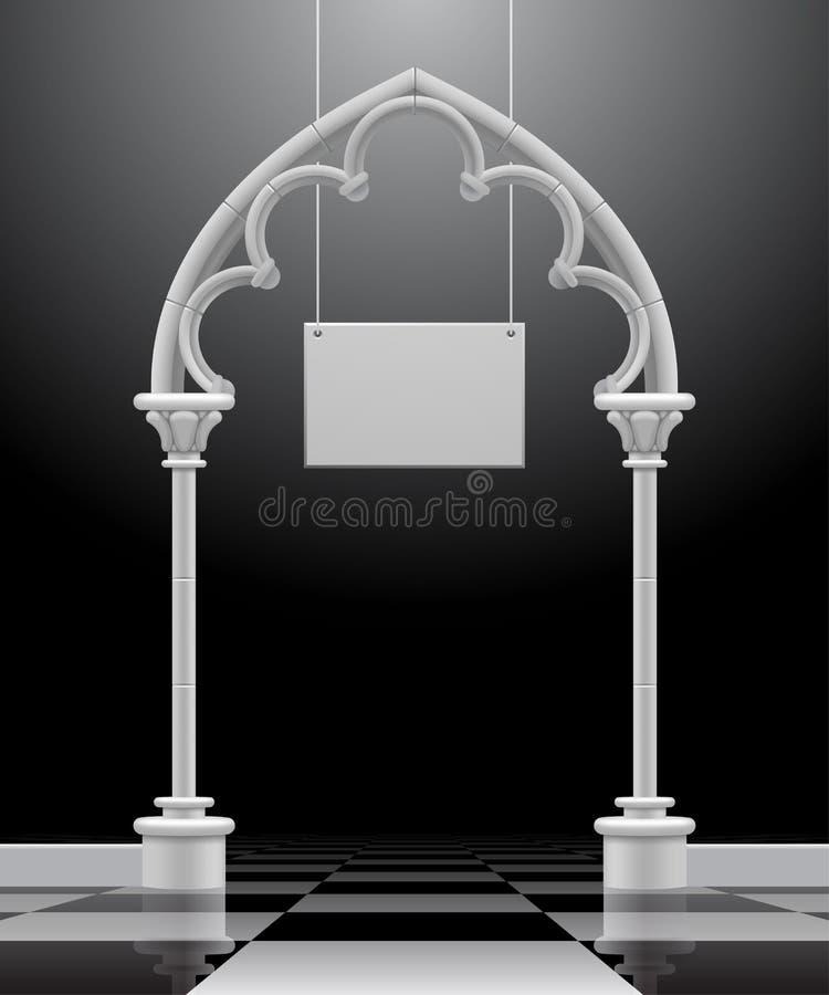Arco gotico con un'insegna sospesa royalty illustrazione gratis