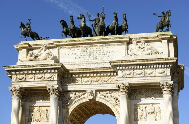 Arco het bovenste gedeelte van het dellatempo, Milaan royalty-vrije stock foto