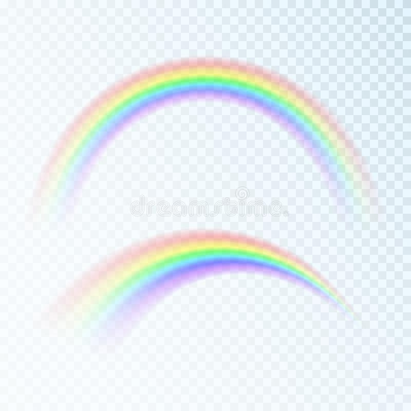 Arco iris abstracto del color Espectro de la luz, siete colores Ejemplo del vector aislado en fondo transparente stock de ilustración